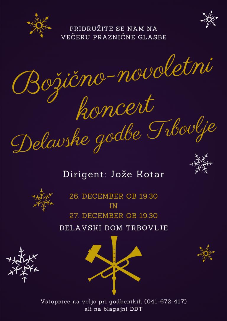 26. in 27. december ob 19.30 – Božično-novoletni koncert Delavske godbe Trbovlje